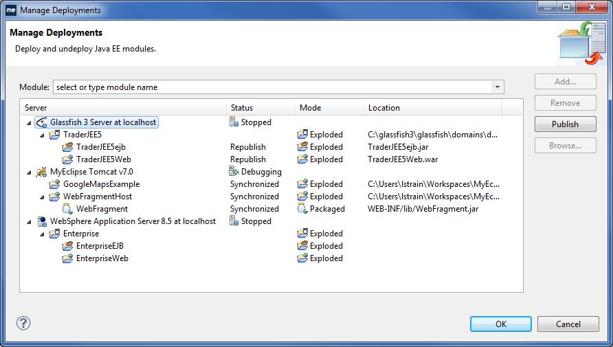 Enterprise application deployment in MyEclipse