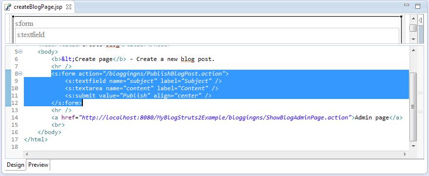 Struts2-Create-Blog-Jsp-Page