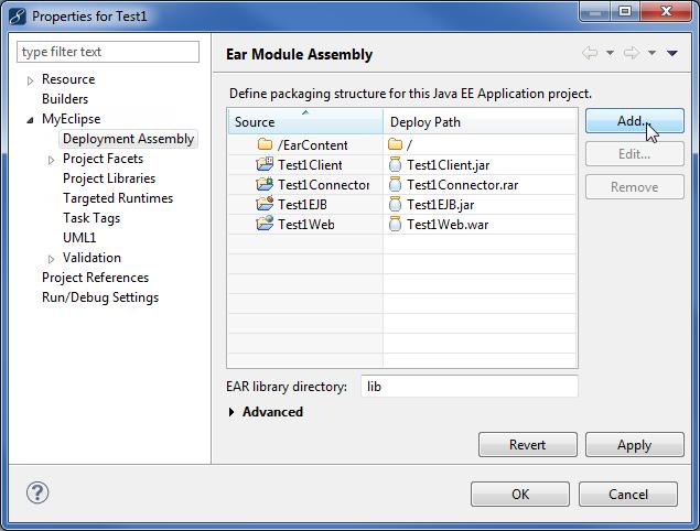 Java EE enterprise application deployment assembly