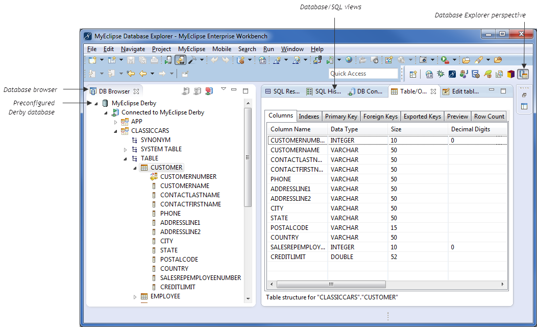 Database Tools in MyEclipse, the Java EE IDE