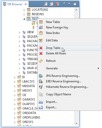 Database tables in MyEclipse
