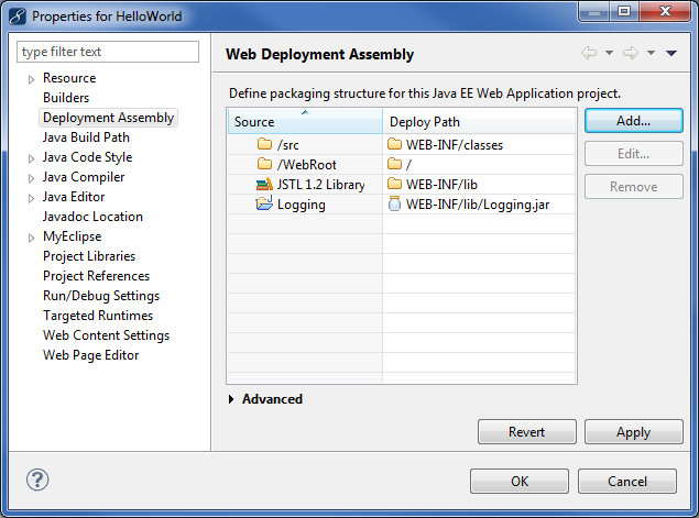 Java project dependency - deployment assembly