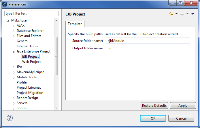 EJB development - preferences