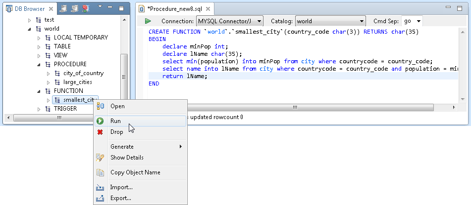 MySQL function node in MyEclipse
