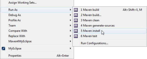 Maven project management - command menu