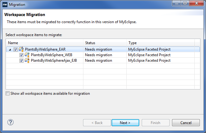 Migrate RAD projects - migration wizard