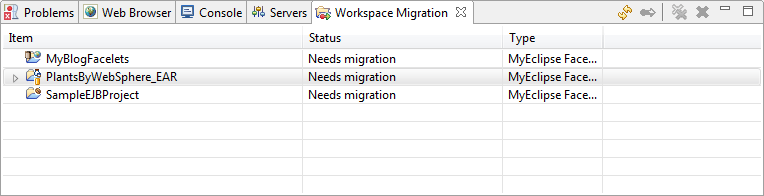 Migrate RAD projects - migration view