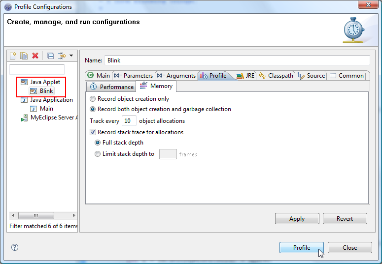Server profiling configurations