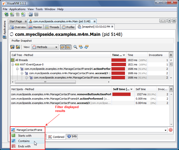 Server profiling in MyEclipse
