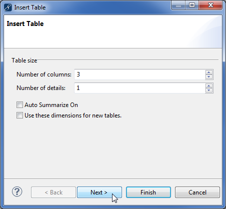 Developing enterprise reports - insert table
