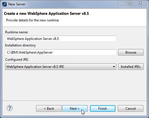 Migrate RAD projects - WebSphere runtime