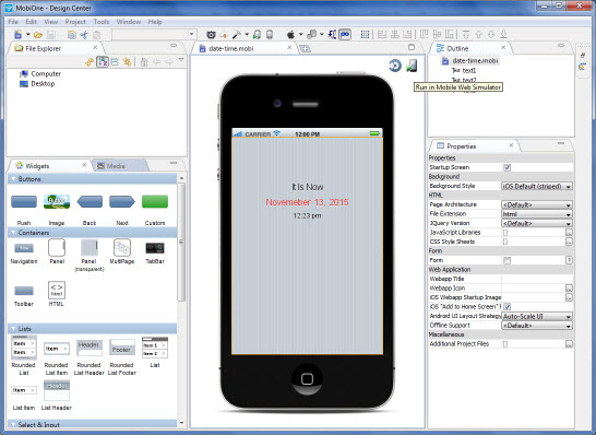 Building MobiOne app - MobiOne project