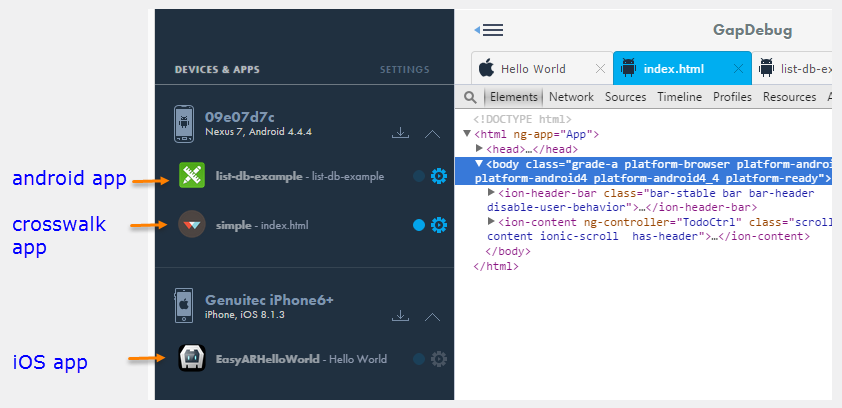 Android crosswalk debugging in GapDebug