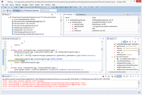 debugging in the Java IDE debugger window