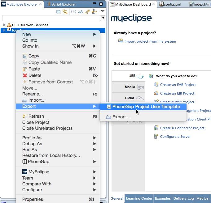 creating custom phonegap mobile project templates genuitec