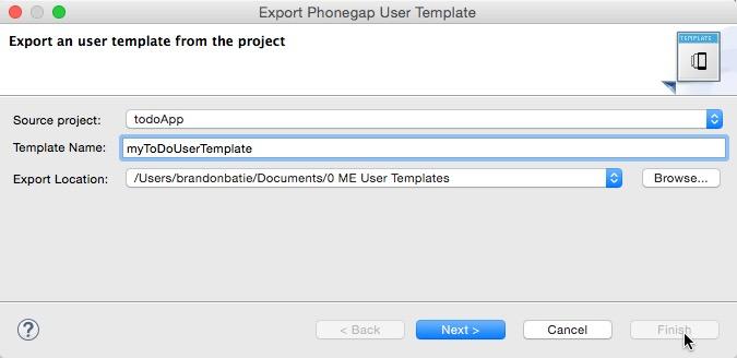 phonegap project template - using custom phonegap mobile project templates genuitec
