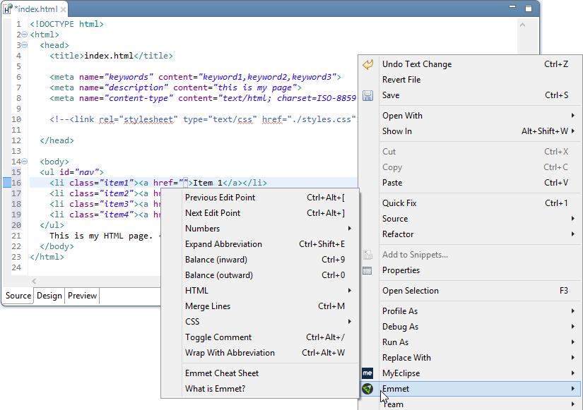 MyEclipse delivery log - CI stream, Emmet menu