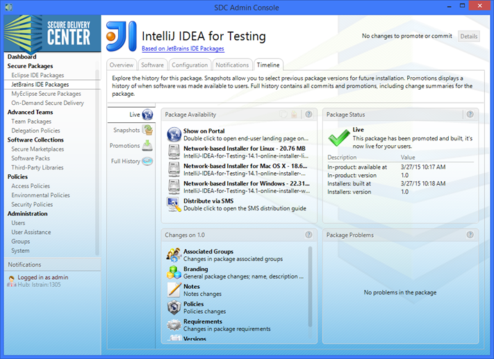 Deliver IntelliJ IDEA from within Secure Delivery Center