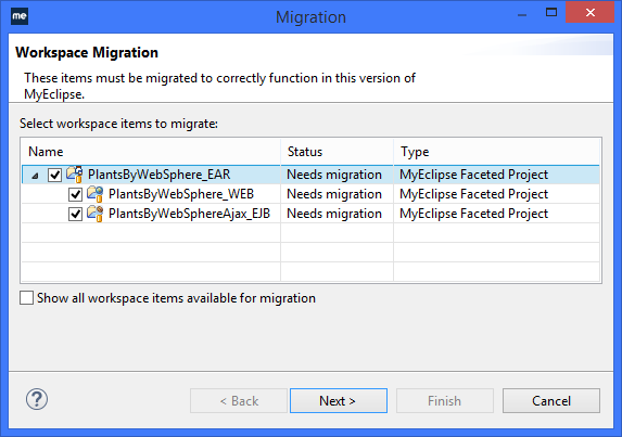 WebSphere IDE - RAD project migration