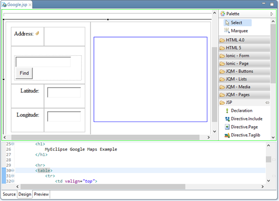 WebSphere IDE - visual editor