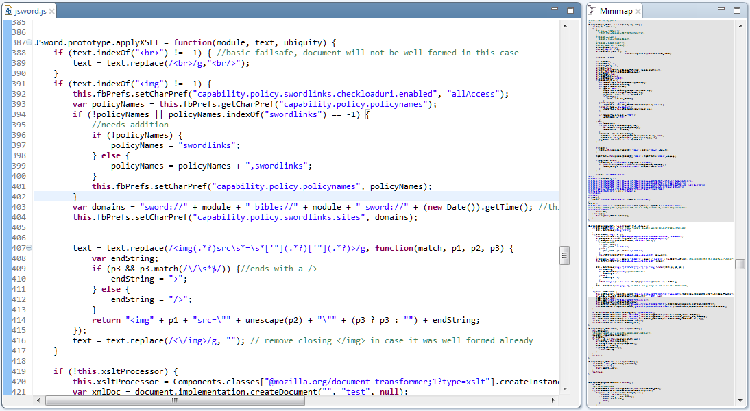 Source code editor - Minimap