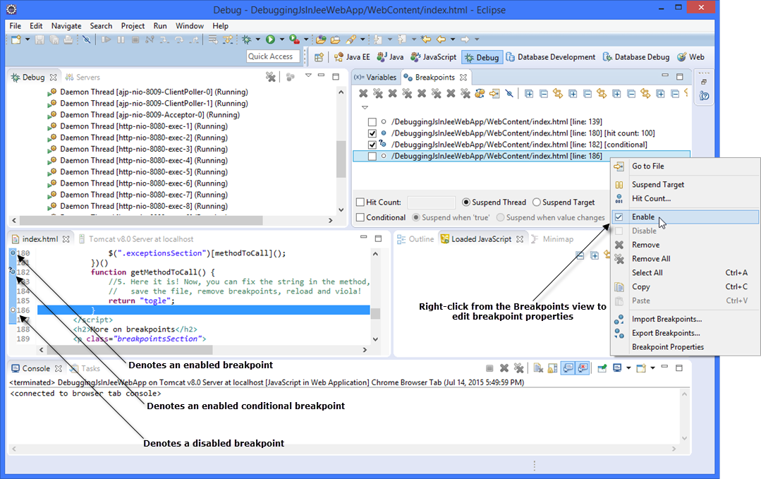 Webclipse features: JavaScript Debugging