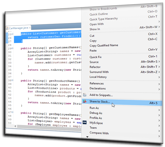 Slack Integration for Code Sharing